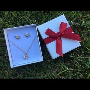 PRICE DROP NWT diamond necklace earring set H&M
